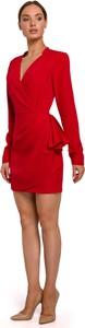 Czerwona sukienka MOE z dekoltem w kształcie litery v z tkaniny
