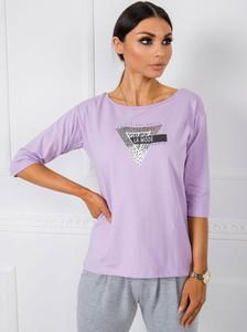Fioletowa bluzka Sheandher.pl z długim rękawem z bawełny