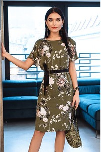 Sukienka Semper z okrągłym dekoltem midi