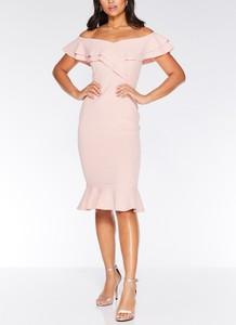 Różowa sukienka Inna ołówkowa hiszpanka
