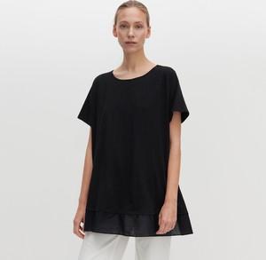 Czarna bluzka Reserved z krótkim rękawem z okrągłym dekoltem w stylu casual