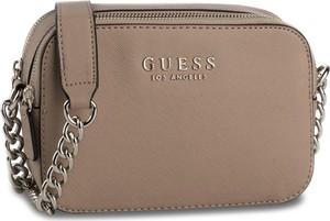Brązowa torebka Guess na ramię mała z aplikacjami