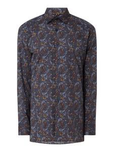 Granatowa koszula Olymp z długim rękawem w młodzieżowym stylu z bawełny