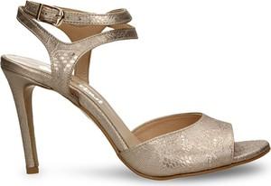 Złote sandały Darbut w stylu klasycznym ze skóry na wysokim obcasie