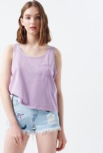 Fioletowa bluzka Cropp w stylu casual z okrągłym dekoltem