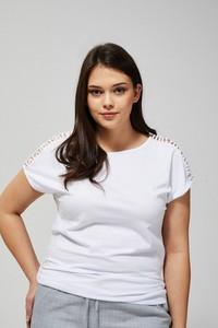 Bluzka Moodo z okrągłym dekoltem z krótkim rękawem w stylu casual
