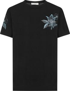 Czarna bluzka Givenchy z krótkim rękawem z okrągłym dekoltem z dżerseju