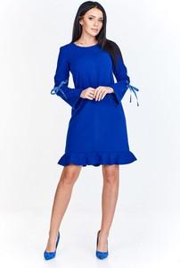 Niebieska sukienka TAGLESS z długim rękawem mini trapezowa