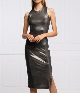 Czarna sukienka Guess z okrągłym dekoltem