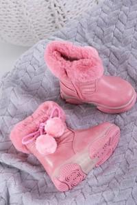Różowe buty dziecięce zimowe Casu