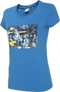 Niebieska bluzka 4F z krótkim rękawem w sportowym stylu z bawełny