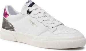 Buty sportowe Pepe Jeans z płaską podeszwą sznurowane