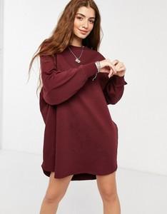 Czerwona sukienka Asos mini z długim rękawem oversize