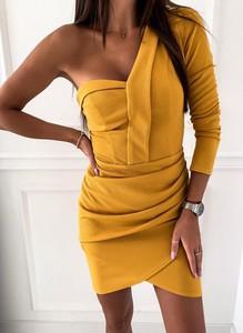 Sukienka Sandbella mini asymetryczna z długim rękawem