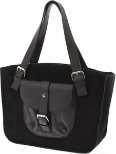 929123a027046 Vera pelle zamszowa torba z kieszonką na ramię laura biaggi czarna
