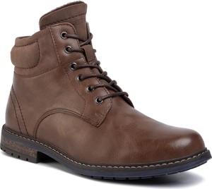 Brązowe buty zimowe Lanetti ze skóry ekologicznej