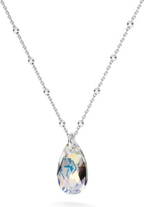 GIORRE ZŁOCONY NASZYJNIK Z KRYSZTAŁEM SWAROVSKIEGO MIGDAŁ : Kolor kryształu SWAROVSKI - Crystal AB, Kolor pokrycia srebra - Pokrycie Jasnym Rodem