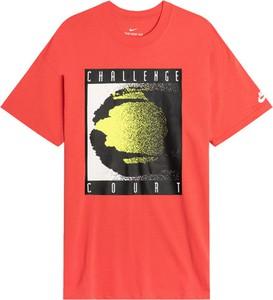 Czerwony t-shirt Nike w młodzieżowym stylu z krótkim rękawem z bawełny