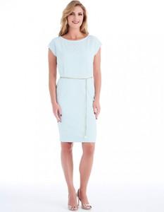Niebieska sukienka POTIS & VERSO z krótkim rękawem z tkaniny z okrągłym dekoltem