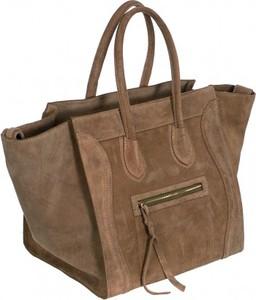 Brązowa torebka Vera Pelle duża w stylu casual do ręki