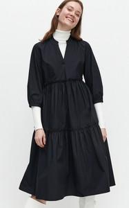 Czarna sukienka Reserved z bawełny z długim rękawem