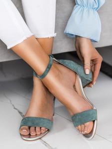 Niebieskie sandały Czasnabuty na obcasie