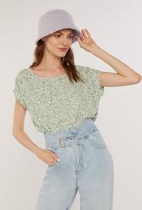 Zielona bluzka FEMESTAGE Eva Minge z okrągłym dekoltem z krótkim rękawem w stylu casual