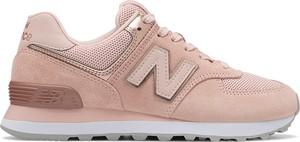 Różowe buty sportowe New Balance w sportowym stylu 574 z płaską podeszwą