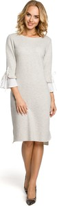 Sukienka MOE z długim rękawem z okrągłym dekoltem