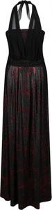 Czerwona sukienka Fokus z dekoltem w karo