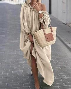 Sukienka Kendallme w stylu boho maxi z długim rękawem