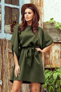 Zielona sukienka NUMOCO mini z długim rękawem w stylu casual