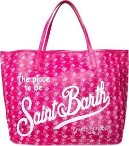 Różowa torebka Mc2 Saint Barth z nadrukiem na ramię