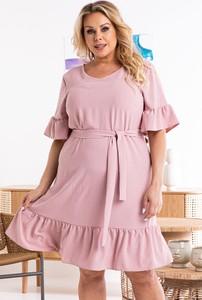 Sukienka KARKO z tkaniny oversize z okrągłym dekoltem