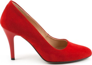 Czerwone szpilki AKARDO na obcasie w stylu klasycznym z zamszu