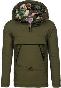 Zielona kurtka denley bez wzorów z poliestru