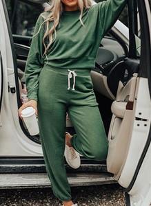 Zielone spodnie sportowe Sandbella w sportowym stylu z dresówki