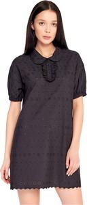 Czarna sukienka By Insomnia z żabotem z krótkim rękawem mini