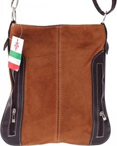 Brązowa torebka GENUINE LEATHER w stylu casual średnia ze skóry ekologicznej