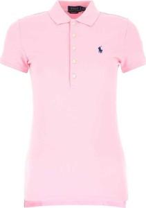 Różowy t-shirt POLO RALPH LAUREN z krótkim rękawem z okrągłym dekoltem w stylu casual