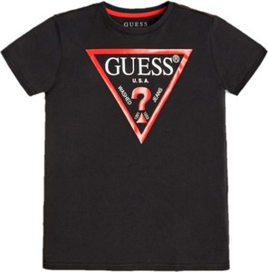 Czarna koszulka dziecięca Guess z krótkim rękawem dla chłopców