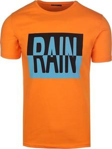 Pomarańczowy t-shirt Neidio w młodzieżowym stylu z krótkim rękawem z bawełny