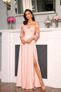 Różowa sukienka Paris maxi z krótkim rękawem