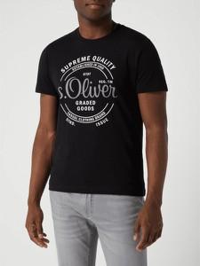 Czarny t-shirt S.Oliver Red Label z nadrukiem z dżerseju w młodzieżowym stylu