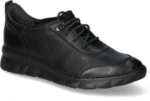 Czarne buty sportowe Ryłko sznurowane ze skóry z płaską podeszwą