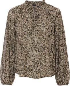 Brązowa bluzka bonprix z długim rękawem z szyfonu
