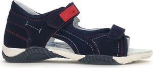 Granatowe buty dziecięce letnie RenBut ze skóry dla chłopców na rzepy