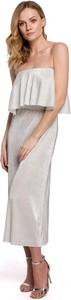 Srebrna sukienka Merg maxi bez rękawów