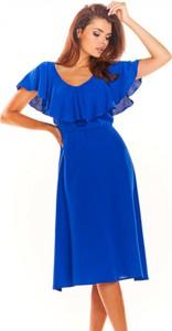 Sukienka Awama midi z krótkim rękawem z dekoltem w kształcie litery v