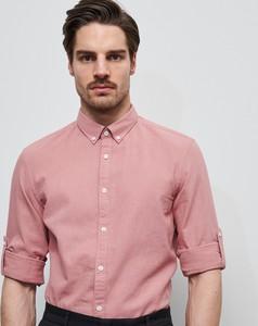 Różowa koszula Reserved z długim rękawem z bawełny